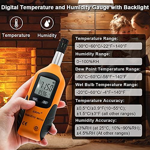 Sunray Psychrometer Thermo-Hygrometer Digital Temperatur und Luftfeuchtigkeit Meter Thermometer Hygrometer mit Taupunkt und Feuchtkugel - 2