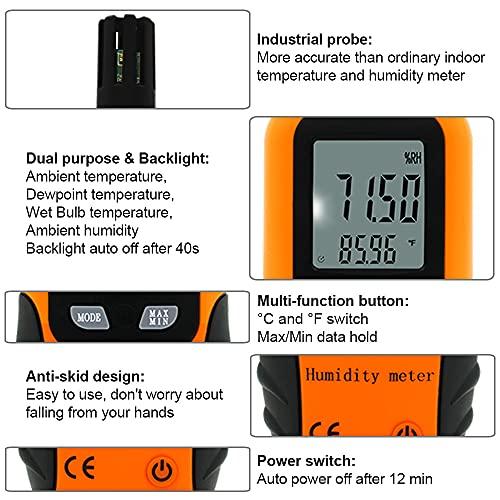 Sunray Psychrometer Thermo-Hygrometer Digital Temperatur und Luftfeuchtigkeit Meter Thermometer Hygrometer mit Taupunkt und Feuchtkugel - 4