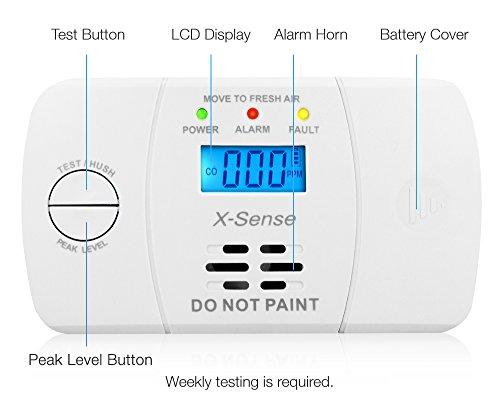 X-Sense Kohlenmonoxidmelder CO Melder Carbon Monoxide CO Detector mit Digitaler Anzeige, Batteriebetrieben, CO03M - 2