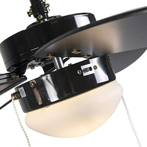 QAZQA Modern Deckenventilator mit Beleuchtung Fresh 30 schwarz Glas - 9