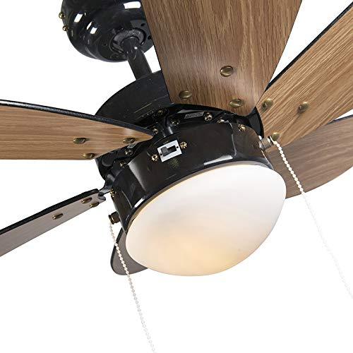 QAZQA Modern Deckenventilator mit Beleuchtung Fresh 30 schwarz Glas - 7