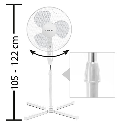 TROTEC Standventilator TVE 15 S –  Standlüfter  Standfuß höhenverstellbar – Weiß - 4