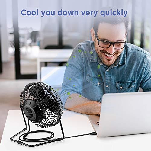EasyAcc 6 Zoll USB Ventilator Mini Lüfter für den Schreibtisch mit An/Aus-Schalter schwarz - 2