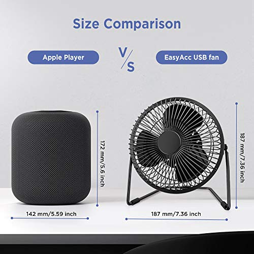 EasyAcc 6 Zoll USB Ventilator Mini Lüfter für den Schreibtisch mit An/Aus-Schalter schwarz - 6