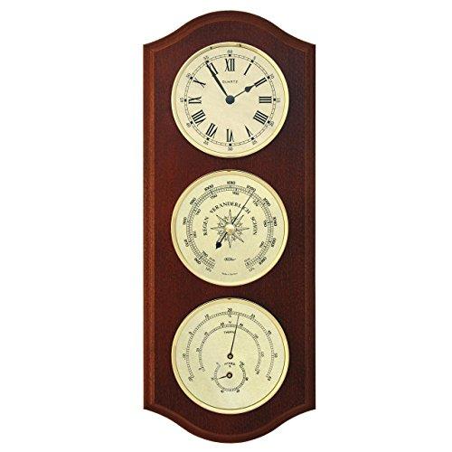 Wetterstation mit Quarzuhr, Barometer und Thermohygrometer im mahagonifarbenen Echtholzgehäuse