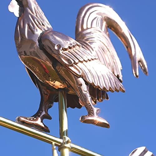 Linneborn 3D Wetterhahn Motiv Hahn aus Kupfer inkl. Universalhalterung. Windrichtungsanzeiger Windspiel Wetterfahne fürs Dach - 2