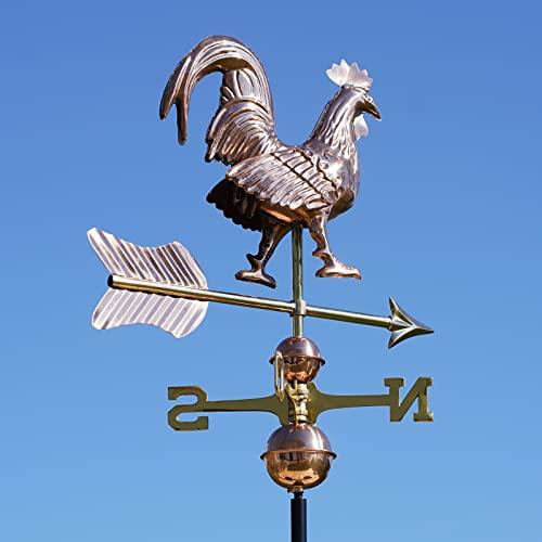 Linneborn 3D Wetterhahn Motiv Hahn aus Kupfer inkl. Universalhalterung. Windrichtungsanzeiger Windspiel Wetterfahne fürs Dach - 3