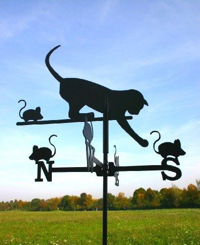 KATZE und MAUS Wetterfahne aus Stahl klein schwarz 72 cm