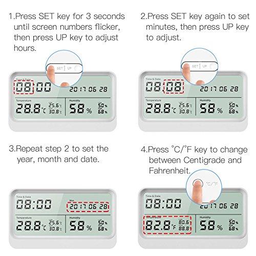 Digitales Thermo-Hygrometer, AngLink 16:9 LCD Breitbild Monitor Thermometer Hygrometer mit Datum und Uhrzeit, Luftfeuchtigkeitsmesser mit Magneten und Klappständer (Weiß) - 7