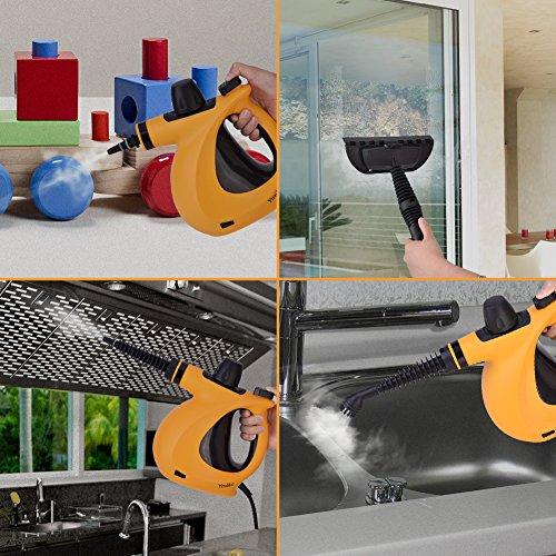 Dampfreiniger, Ymiko Handdampfreiniger inkl. 9-teiligem Zubehör, Handdampfreiniger für Bad u. Badezimmer, Boden, Fenster,Teppiche - 5