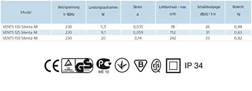 Geräuscharme Lüfter Ventilator Badlüfter Vents SILENTA-M TIMER PIR Ø 100 mm, Nachlauf, Bewegungsmelder, Bewegungssensor Kugellager / 24 db / 75 m³/h / Rückschlagfolie - 2