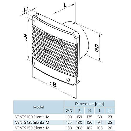 Geräuscharme Lüfter Ventilator Badlüfter Vents SILENTA-M TIMER PIR Ø 100 mm, Nachlauf, Bewegungsmelder, Bewegungssensor Kugellager / 24 db / 75 m³/h / Rückschlagfolie - 3