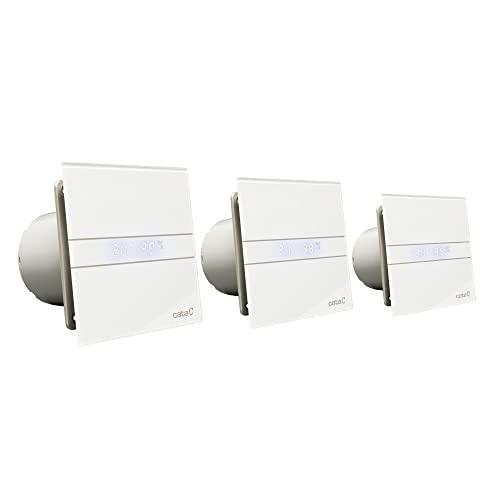 Ventilator Lüfter Badlüfter CATA E-100 GTH Timer / Nachlauf / Hygro / Feuchtesteuerung Feuchtesensor LED – Display Glasfront stark 115 m³/h / sehr leise 31 dB / energiesparend 8W / Kugellager / 2 Stufen / inkl. Dauerlauf - 2