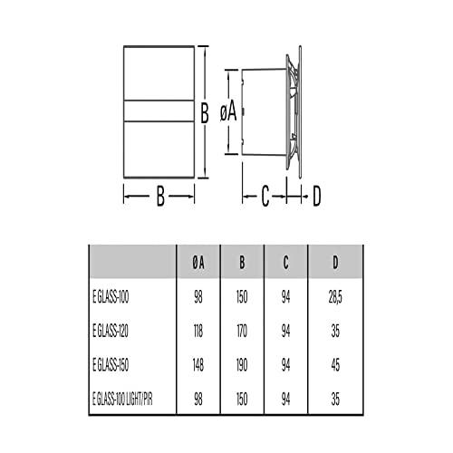 Ventilator Lüfter Badlüfter CATA E-100 GTH Timer / Nachlauf / Hygro / Feuchtesteuerung Feuchtesensor LED – Display - 3