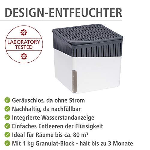Wenko 50220100 Design Raumentfeuchter Cube 1000 g Luftentfeuchter, Fassungsvermögen 1.6 L, Ø 16.5 x 15.7 cm, weiß - 4