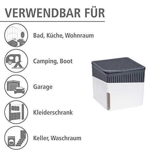Wenko 50220100 Design Raumentfeuchter Cube 1000 g Luftentfeuchter, Fassungsvermögen 1.6 L, Ø 16.5 x 15.7 cm, weiß - 7