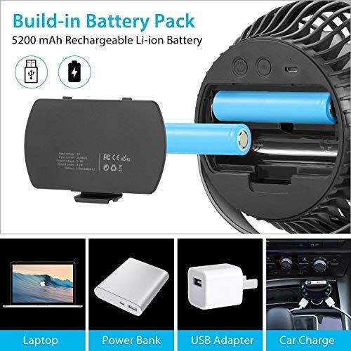 FITFIRST Tischventilator 5200mAh Batteriebetrieben Ultra Leise USB Ventilator 360 Grad Oszillierend Tragbarer Clip Fan 4 Geschwindigkeiten Wiederaufladbar Starker Wind Aroma Diffuser Funktion - 6