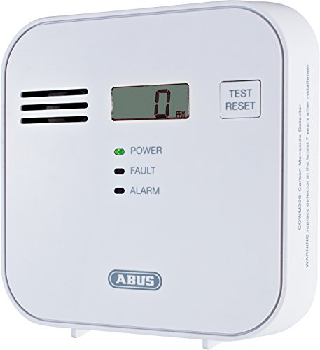 ABUS  Kohlenmonoxid-Warnmelder COWM300 CO-Melder | LCD-Display inkl. CO-Konzentration | 7 Jahre Sensor | Prüftaste | bis 60 m² | weiß | 37241 - 2