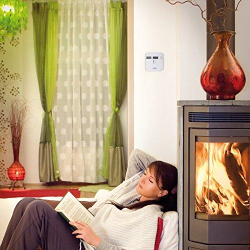 ABUS  Kohlenmonoxid-Warnmelder COWM300 CO-Melder | LCD-Display inkl. CO-Konzentration | 7 Jahre Sensor | Prüftaste | bis 60 m² | weiß | 37241 - 4