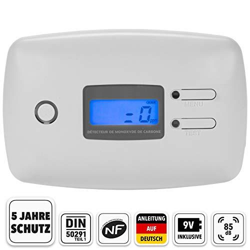 Kohlenmonoxid Warnmelder NF zertifizert CO-Melder mit Standfuß inkl. 9V Batterie - Gasmelder mit 5 Jahre Sensor - 4