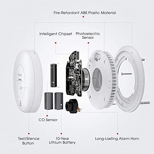X-Sense Rauch- Kohlenmonoxid Melder, 10 Jahre Batterie, Kombinierte Rauch- & CO-Melder, mit Prüftaste, nach EN14604 & EN50291 Standard Zertifiziert, SC03 - 10