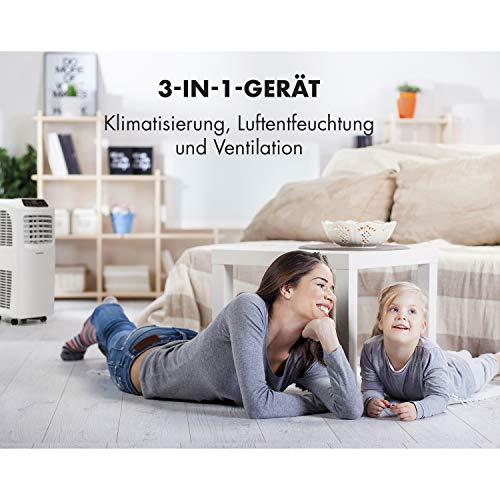 Klarstein Pure Blizzard 3 2G - Klimaanlage, 3-in-1: Kühlung, Ventilator, Luftentfeuchter, Timer, geräuscharm, 17-30°C, Energieeffizienzklasse A, 7.000 BTU/2,1 kW, bis 34 m³, Fernbedienung, weiß - 7