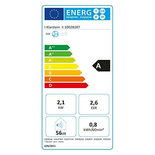 Klarstein Pure Blizzard 3 2G - Klimaanlage, 3-in-1: Kühlung, Ventilator, Luftentfeuchter, Timer, geräuscharm, 17-30°C, Energieeffizienzklasse A, 7.000 BTU/2,1 kW, bis 34 m³, Fernbedienung, weiß - 4