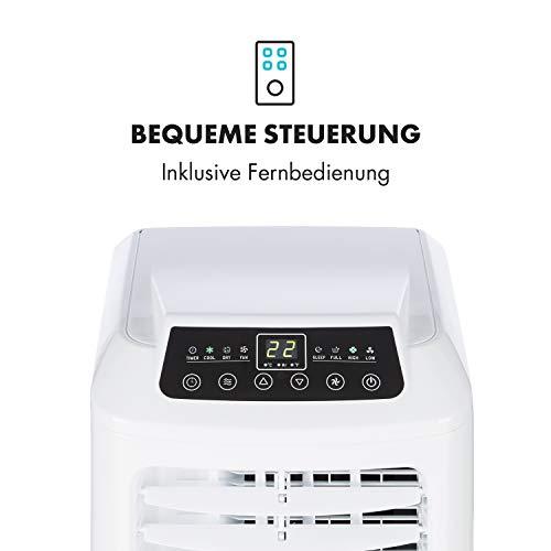 Klarstein Pure Blizzard 3 2G - Klimaanlage, 3-in-1: Kühlung, Ventilator, Luftentfeuchter, Timer, geräuscharm, 17-30°C, Energieeffizienzklasse A, 7.000 BTU/2,1 kW, bis 34 m³, Fernbedienung, weiß - 9